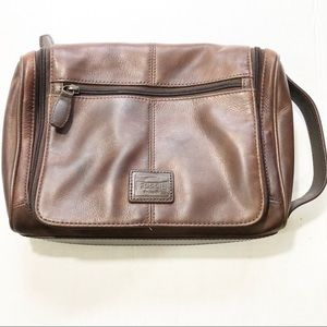 Fossil Brown Leather toiletry Bag